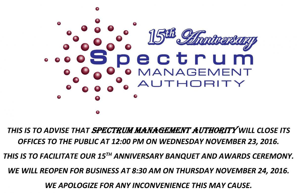 SMA Early Office Closure  - 15th Anniversary